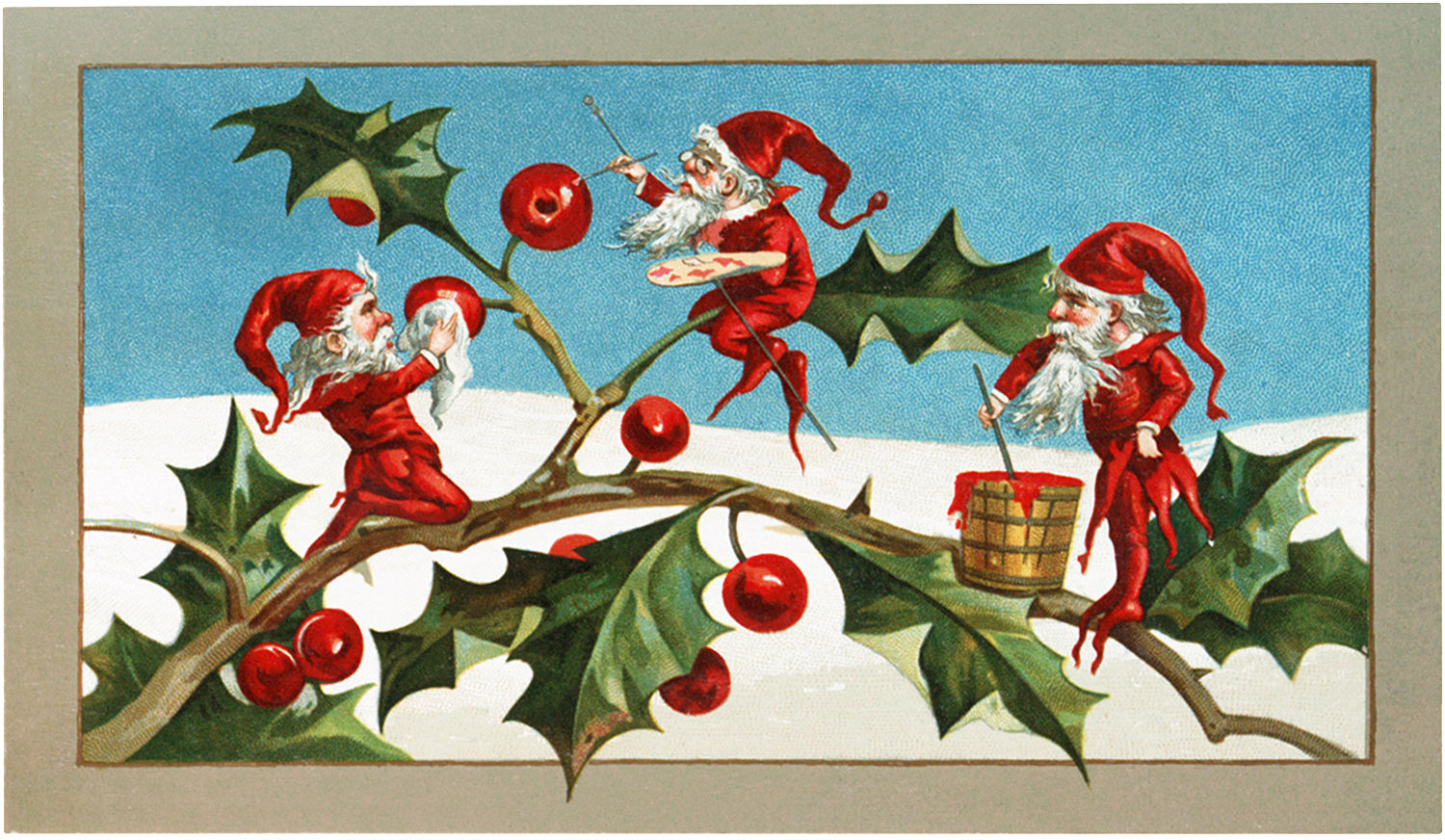 Vintage Elves with Holly Image