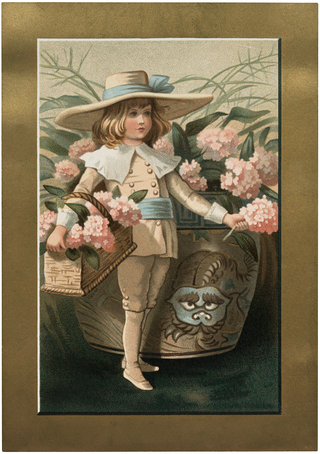 Vintage Flowers Boy Image