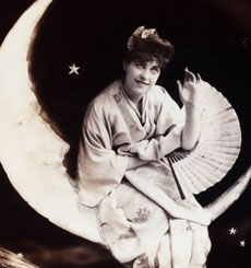 Vintage Lady on Moon Photo!