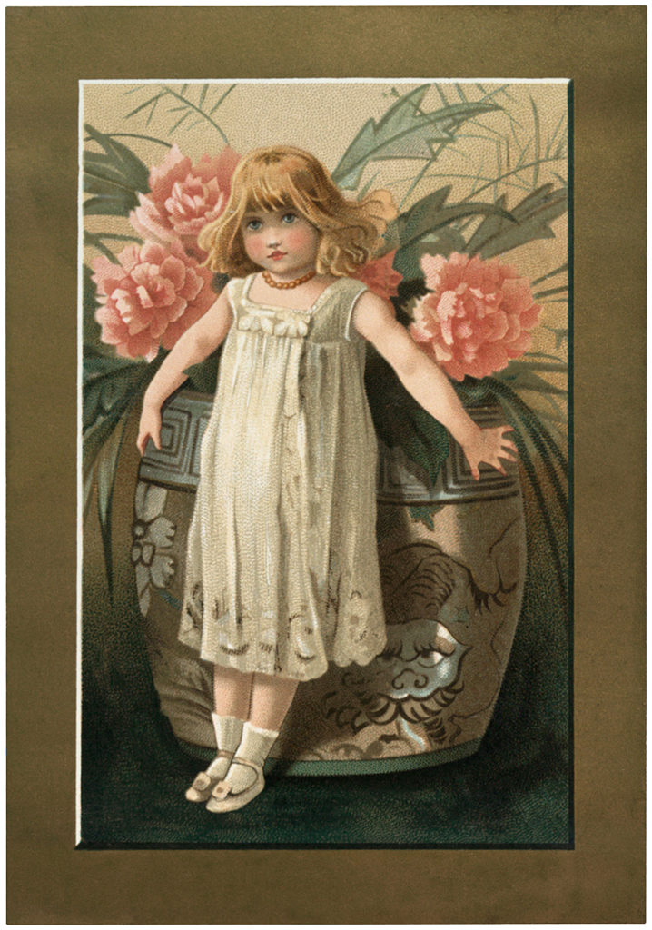 Vintage Peonies Girl Image