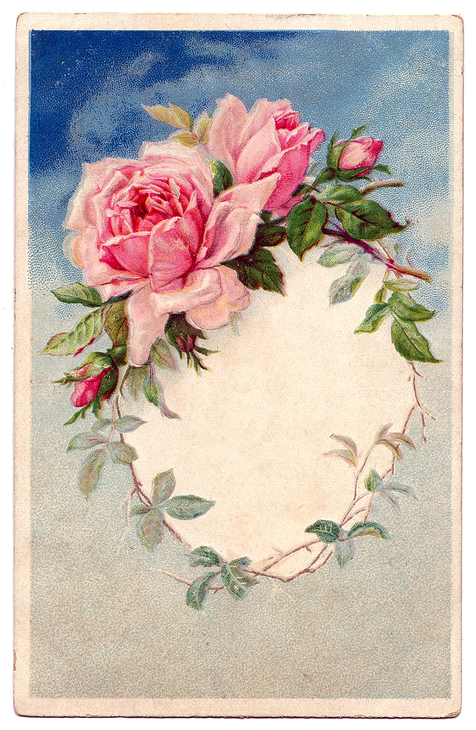 Vintage Rose Wreath Frame Image