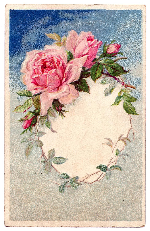 Vintage Rose Wreath Frame Image
