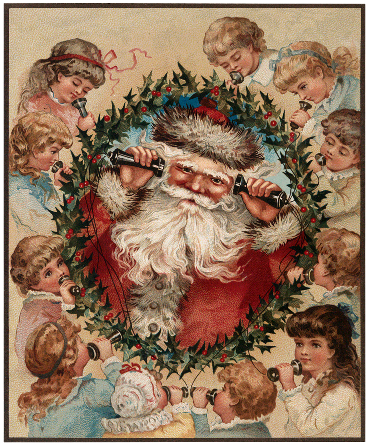 Vintage Santa with Kids Image