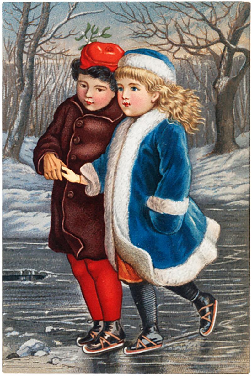 Vintage Skating Kids Image