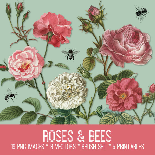 Roses and Bees Image Kit