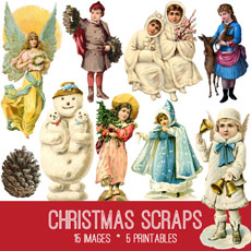 Vintage Christmas Scraps Kit! Graphics Fairy Premium Membership Site