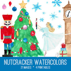 Nutcracker Watercolor Kit! Graphics Fairy Premium Membership Site