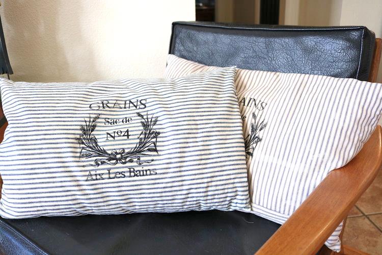 Grain Sack Pillows with Ticking Stripe