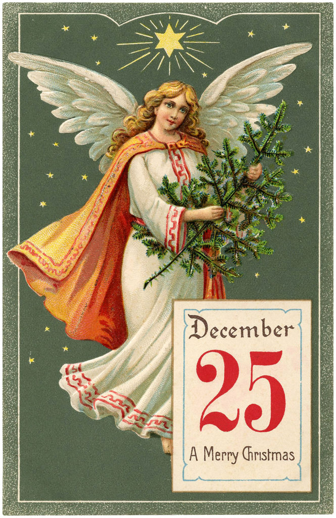 Vintage Calendar Angel Christmas Tree Picture
