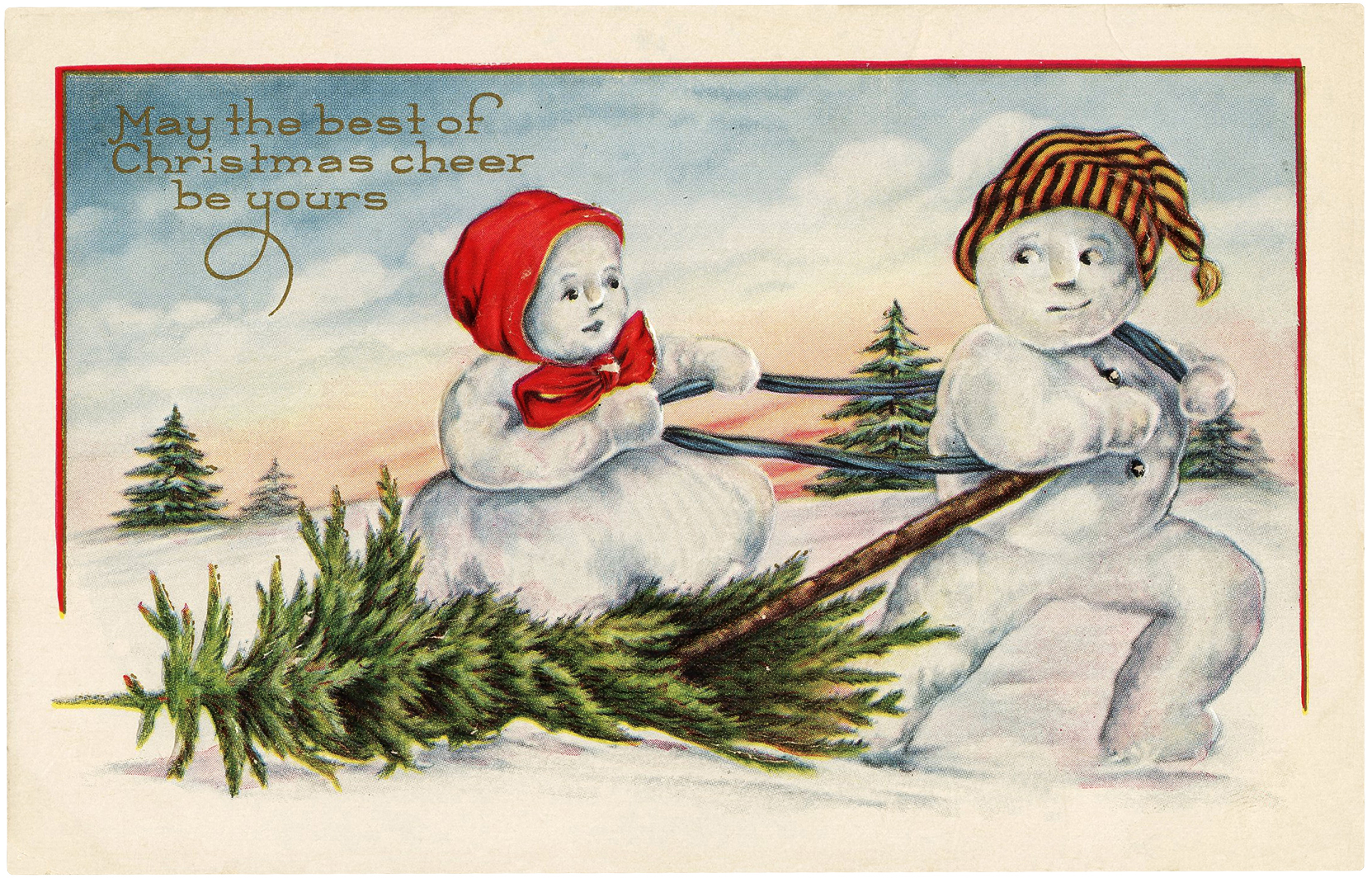 Vintage Christmas Snow Couple Download