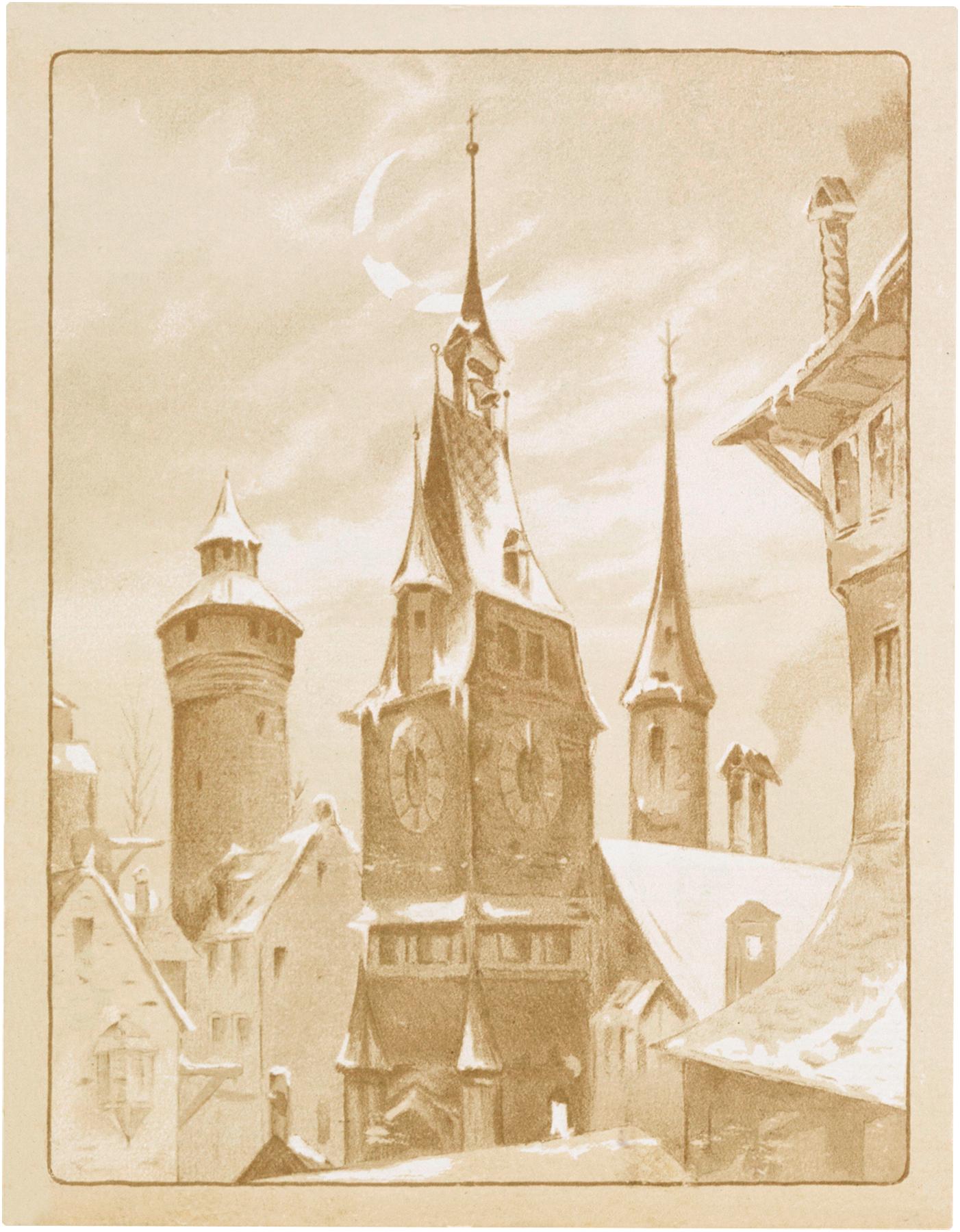 Vintage Snowy Church Image