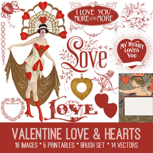Vintage Love and Hearts Kit