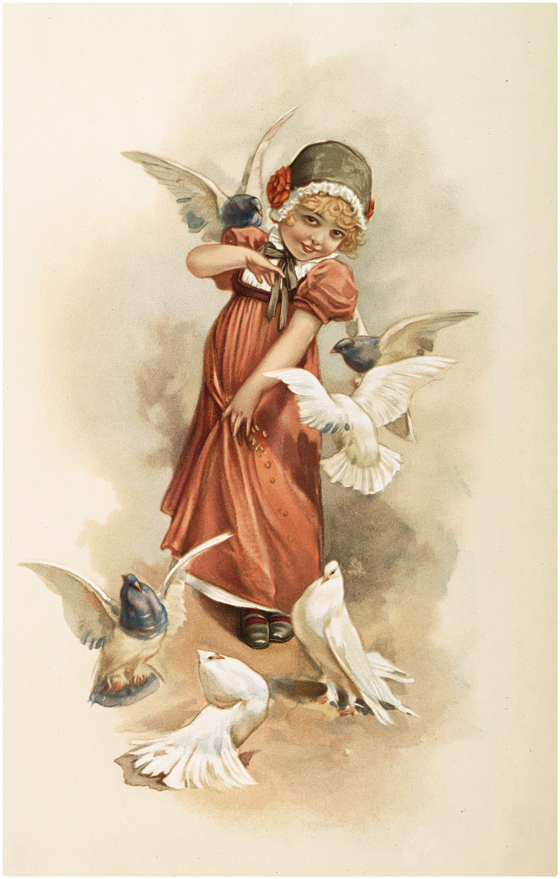 Girl with Doves Image
