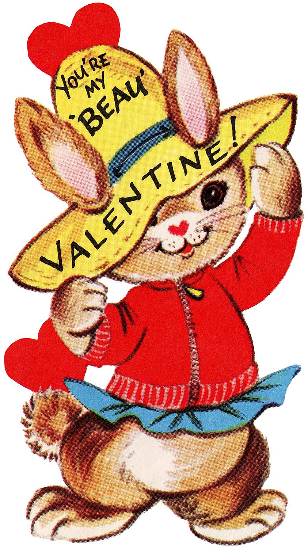 Retro Valentine Bunny Image