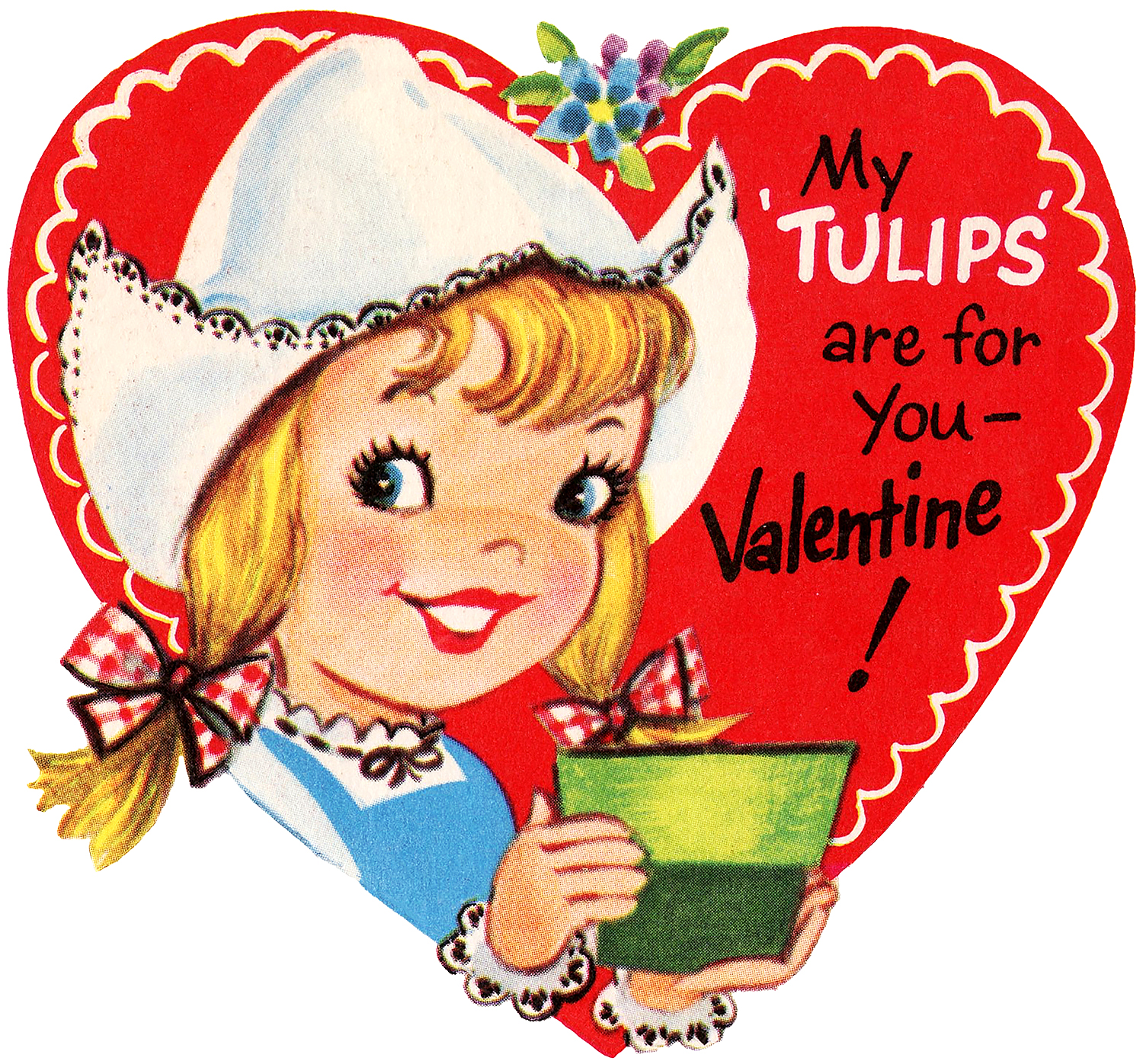 Retro Valentine Dutch Girl Image