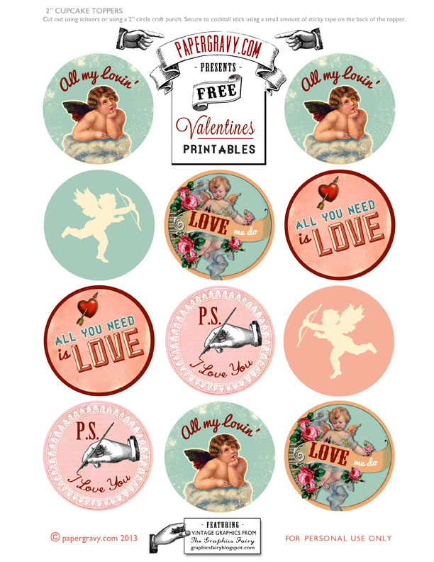 Valentine Printable Cupcake Toppers