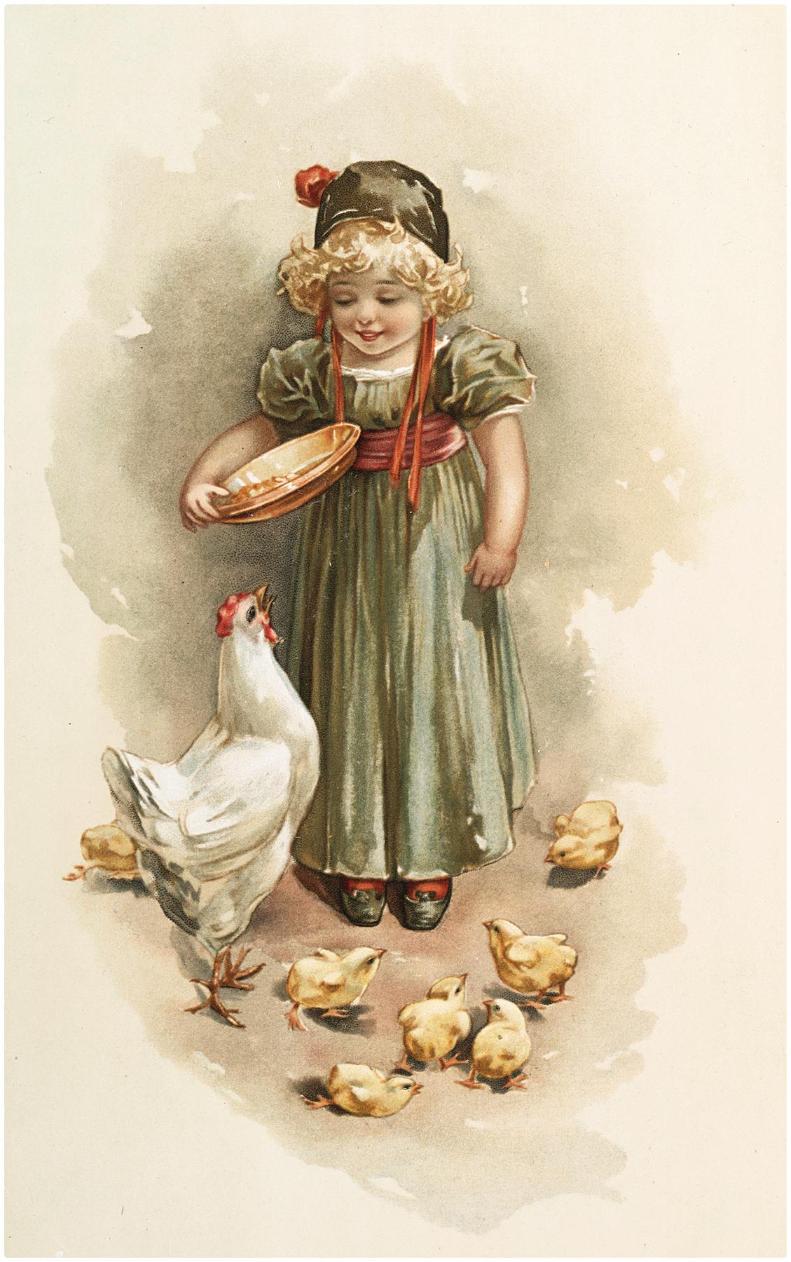 Vintage Farm Girl Image