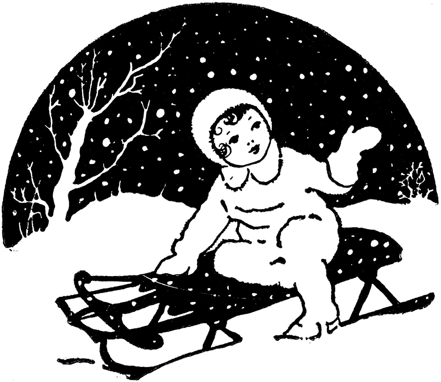 cute vintage sledding image the graphics fairy
