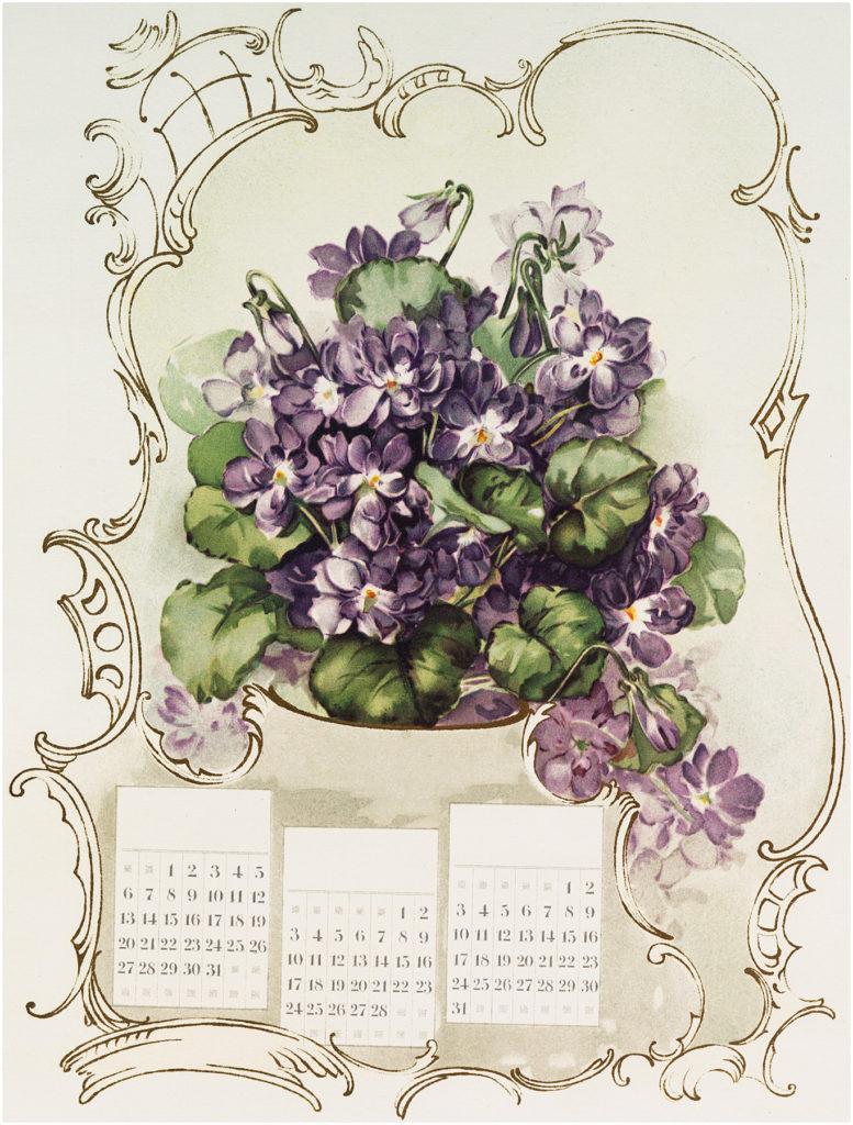 French Violets Calendar Image