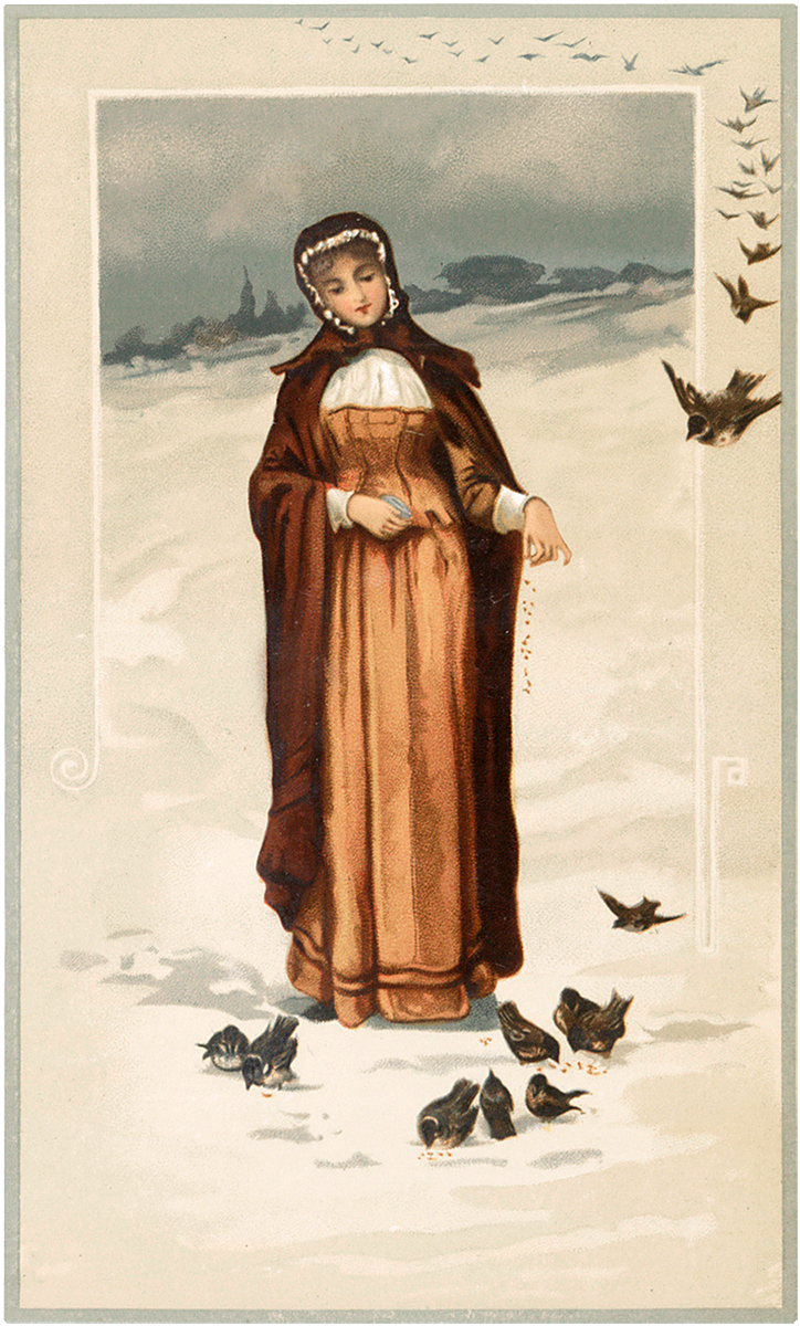 Winter Lady with Birds Image