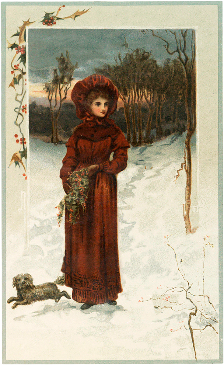 Winter Lady with Dog Image