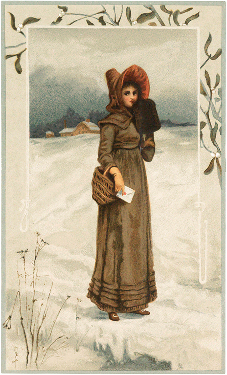 Winter Lady with Letter Image