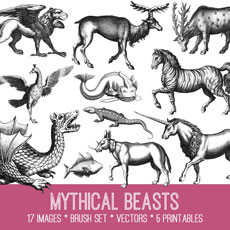 Mythical Beasts Image Kit! Graphics Fairy Premium Membership