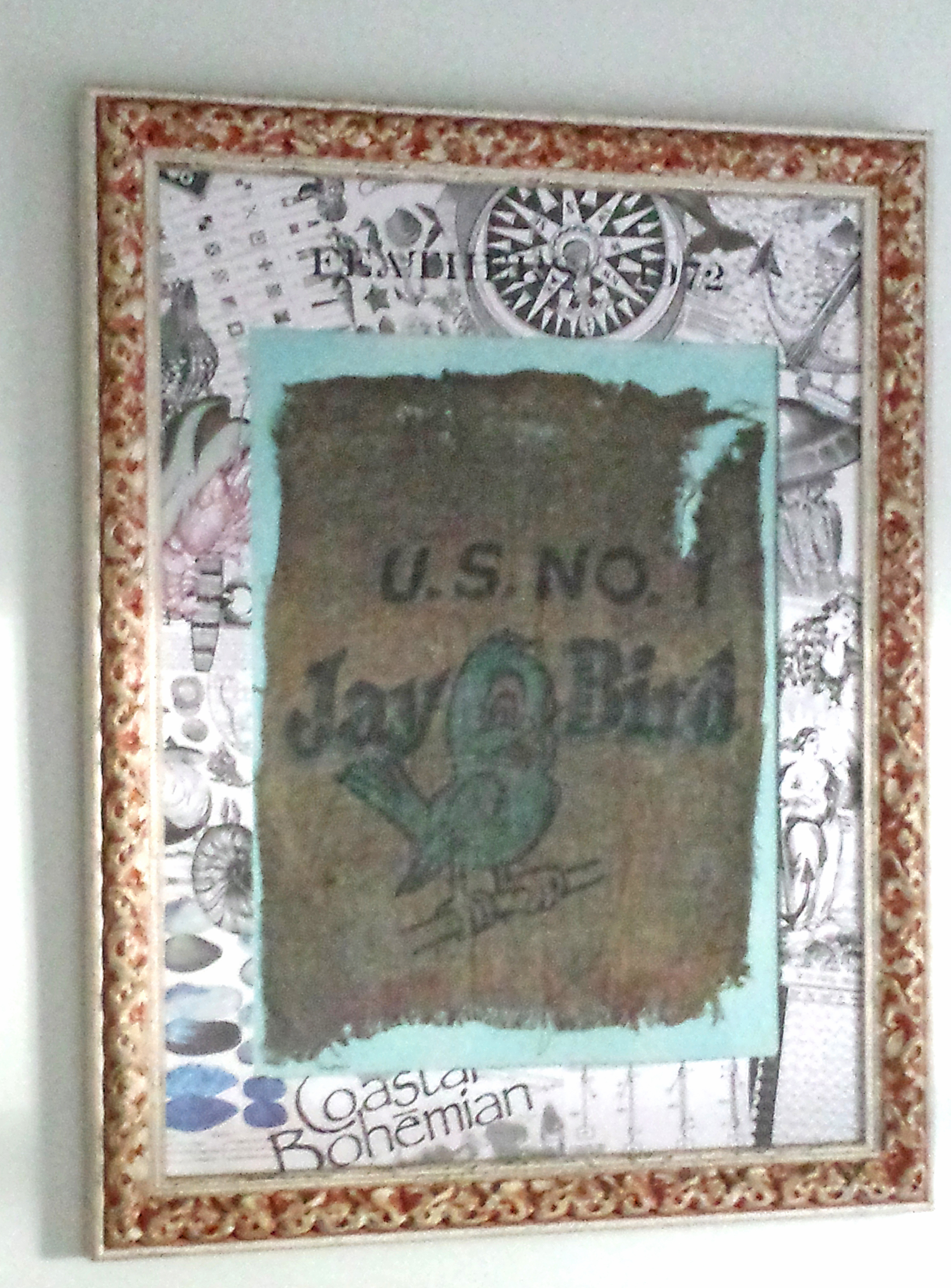 todays reader feature is this fun nautical matte and frame submitted by our friend michele michael micheles boyfriend found this piece of burlap washed - Nautical Picture Frame