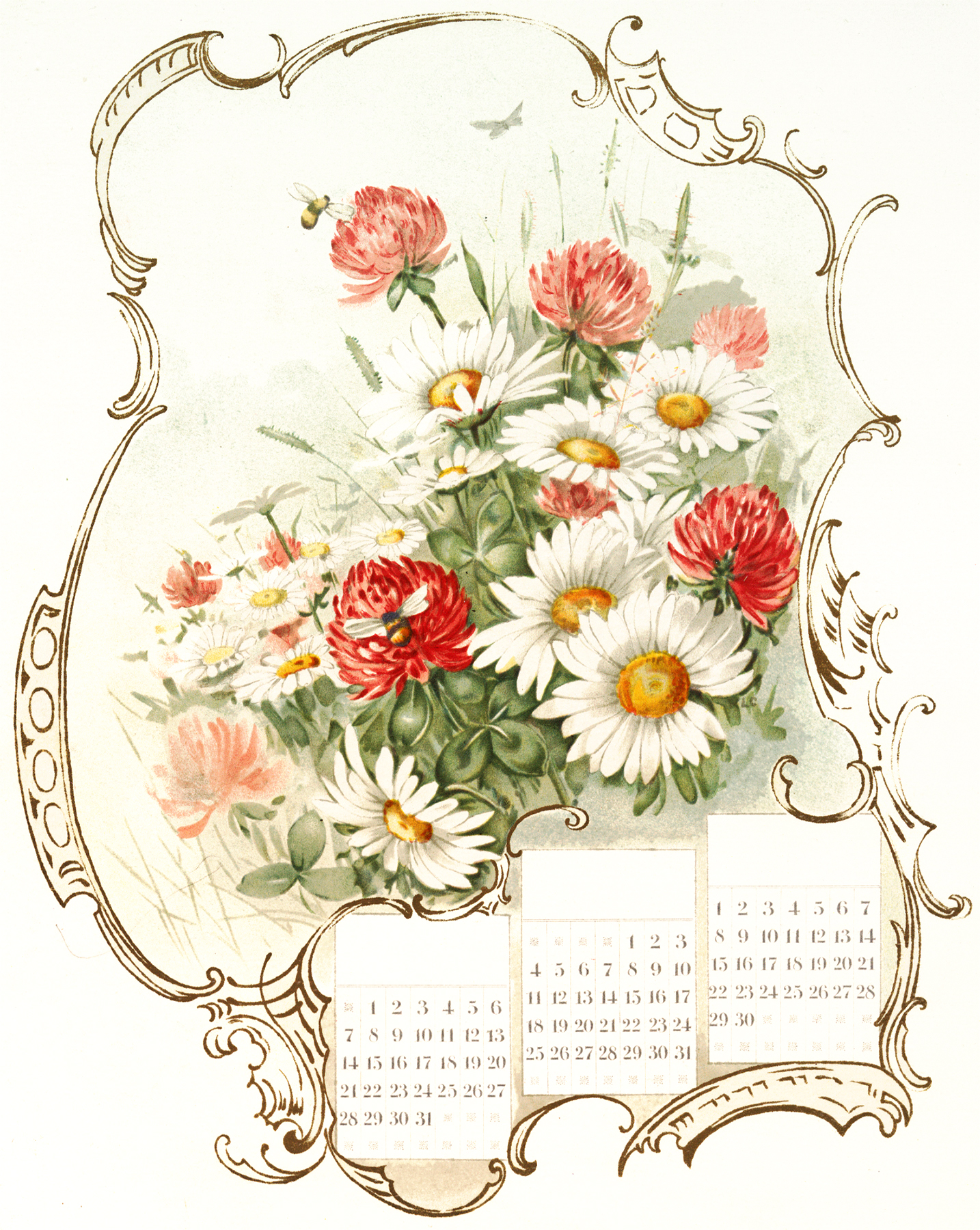 Beautiful Floral Calendar Image