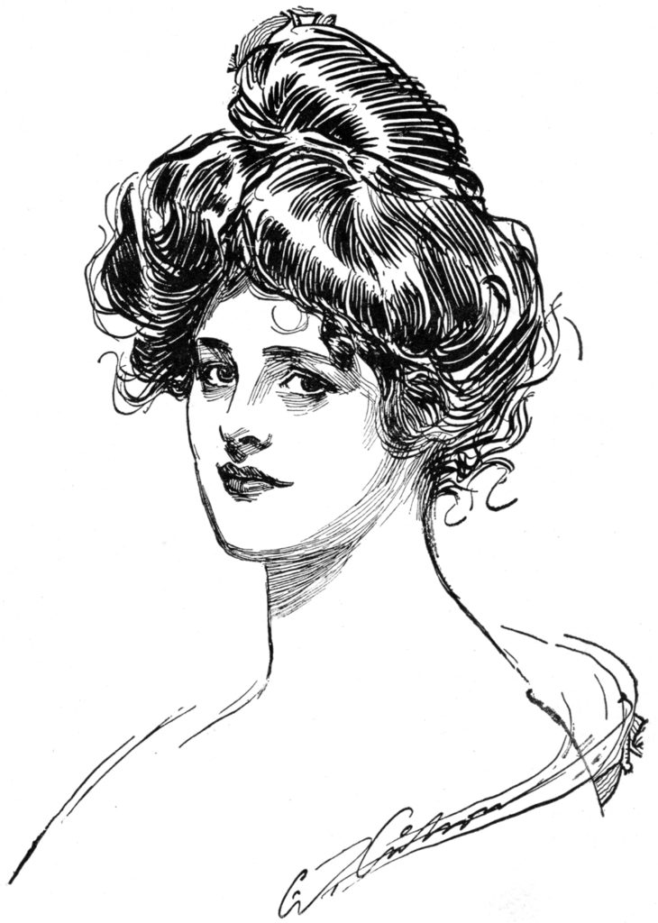 Vintage Gibson Girl Drawing