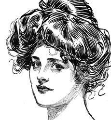 Lovely Vintage Gibson Girl Drawing!