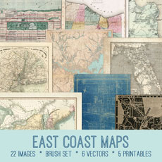 East Coast Maps Image Kit! Graphics Fairy Premium Membership