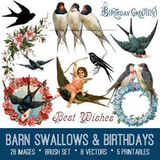 Vintage Barn Swallows and Birthdays Kit – Graphics Fairy Premium Membership