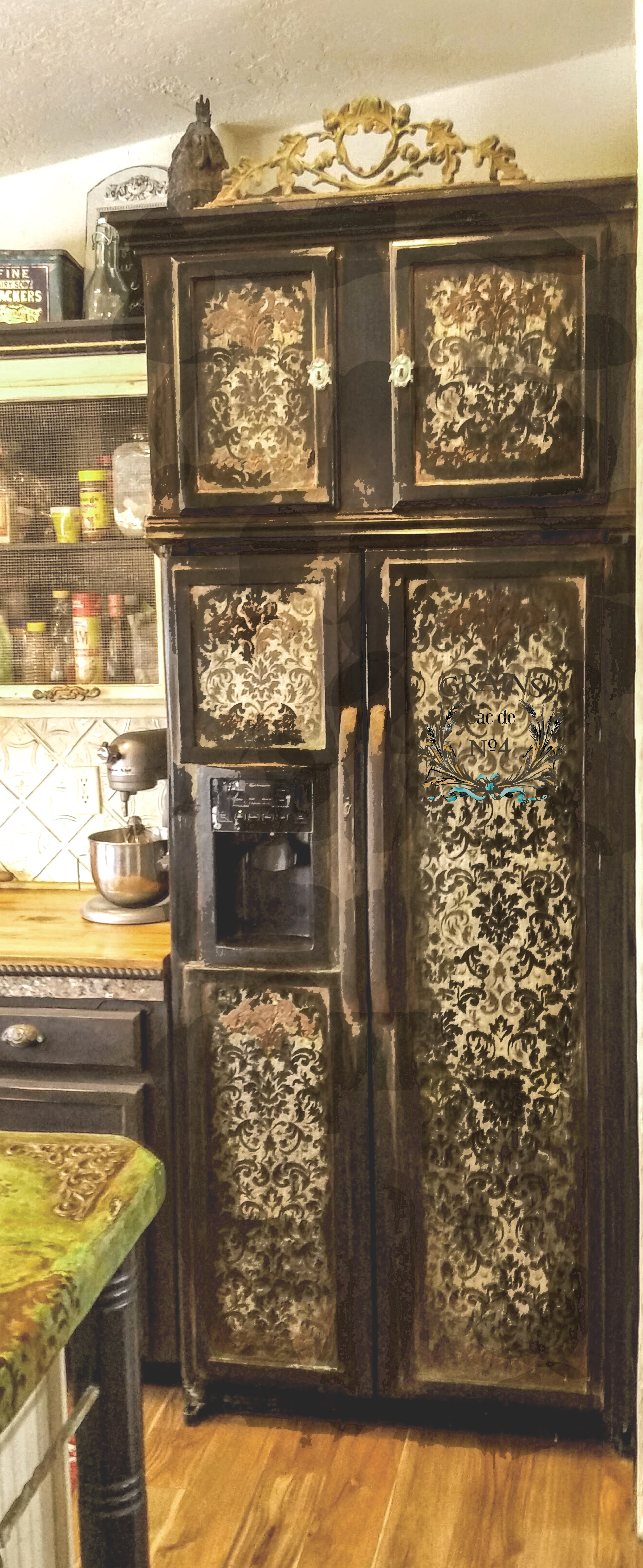 Black Damask Refrigerator Reader Feature The Graphics
