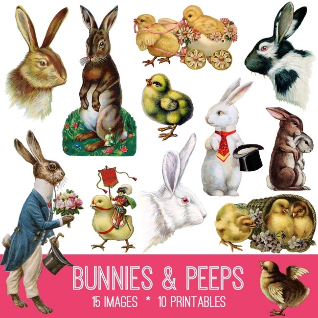 Easter Bunnies and Peeps Image Kit