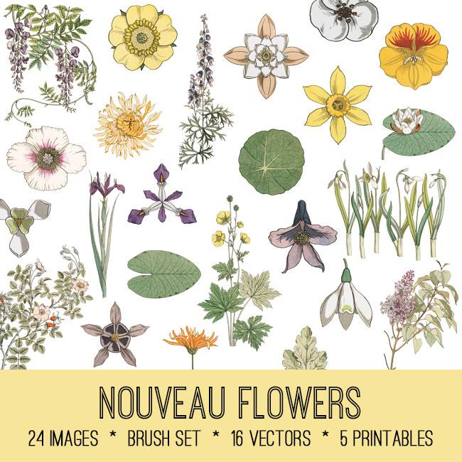 Art Nouveau Flowers Image Kit