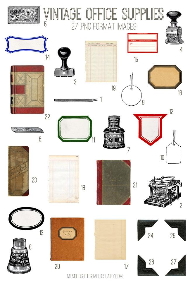 vintage office supply kit