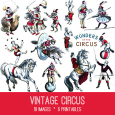 Adorable Vintage Circus Image Kit! Graphics Fairy Premium Membership