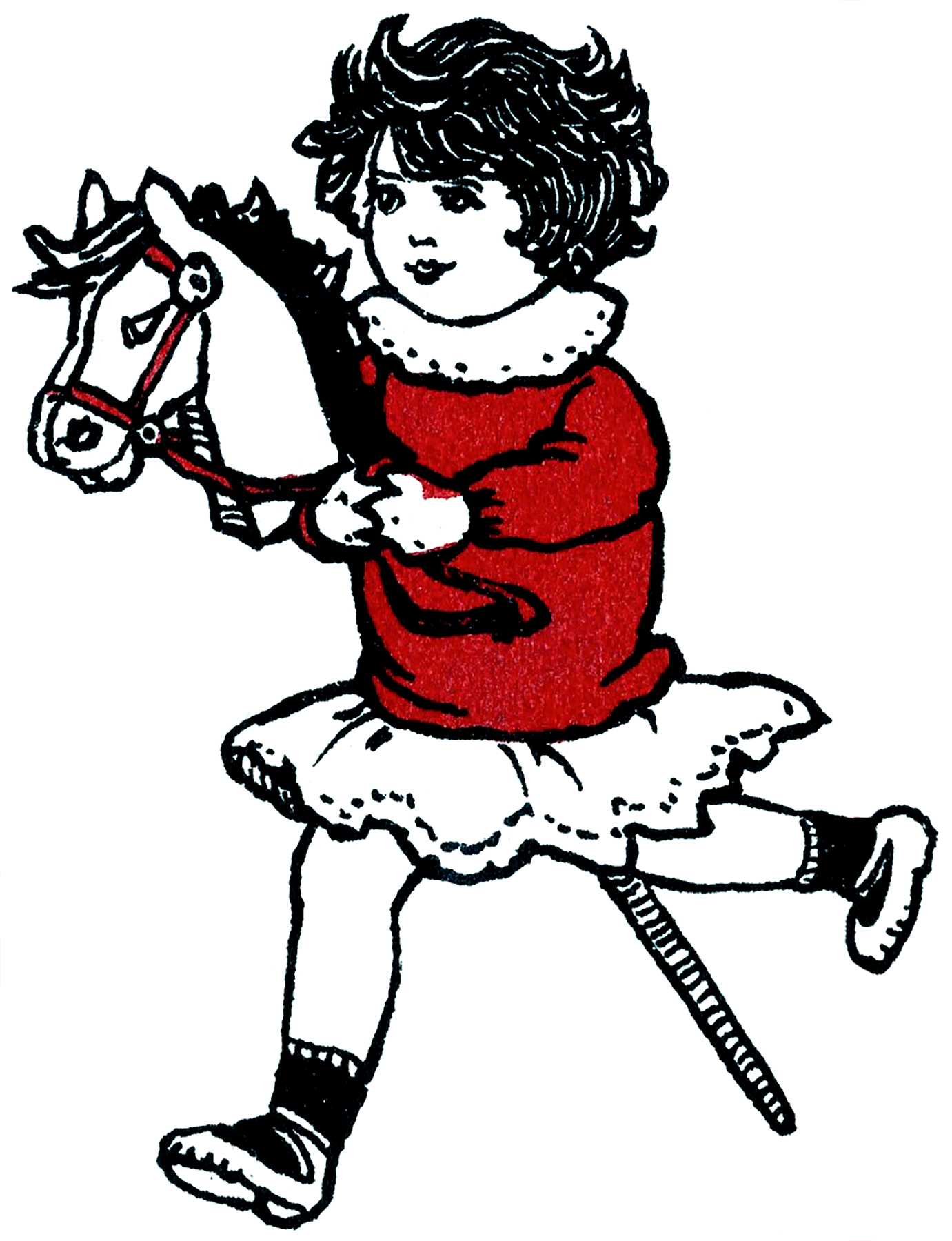 Girl with Hobby Horse Drawing