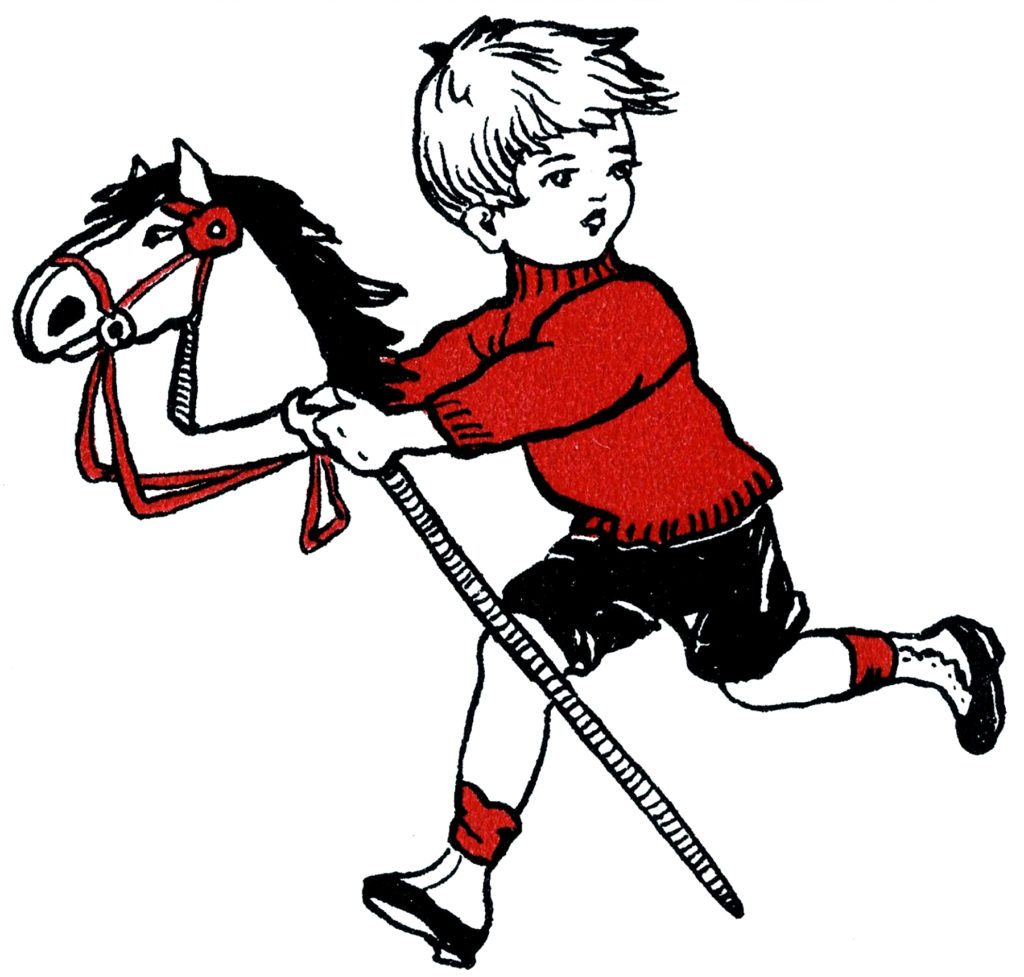 Vintage Boy Hobby Horse Drawing