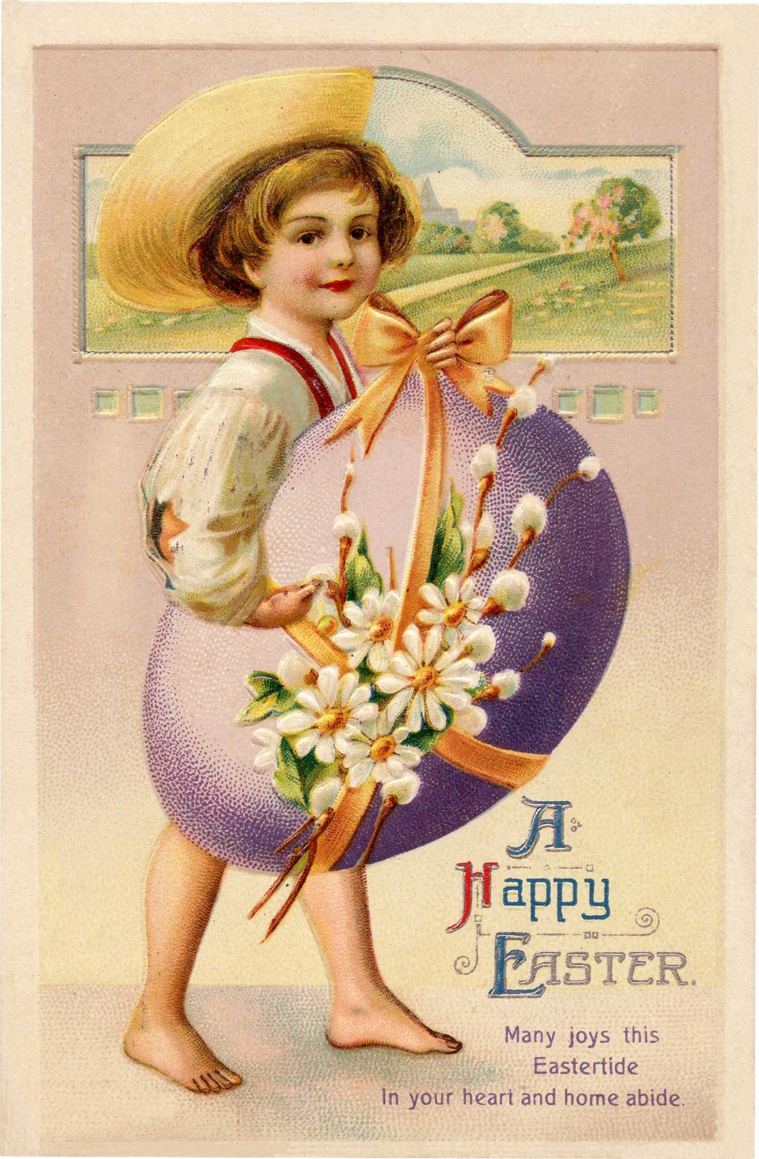 Vintage Easter Egg Boy Picture
