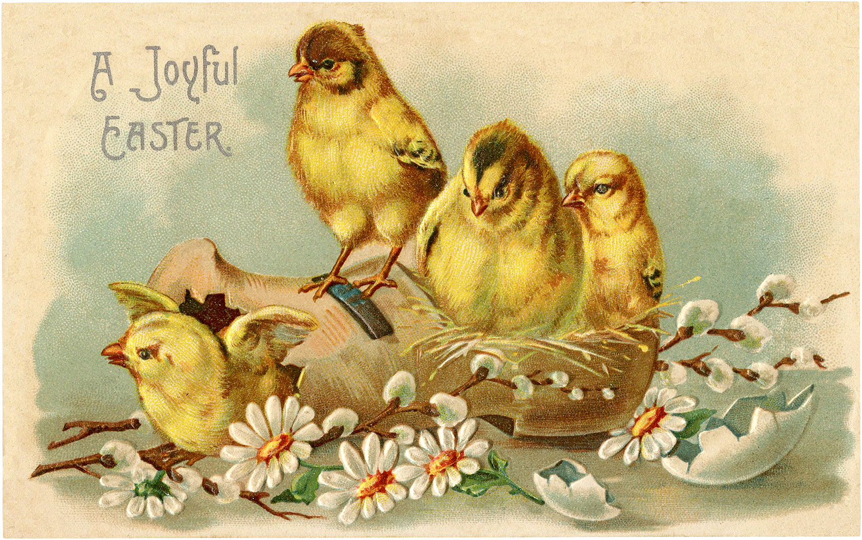 Vintage Joyful Easter Chicks