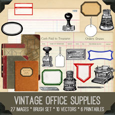 Vintage Office Supply Kit!  Graphics Fairy Premium Membership