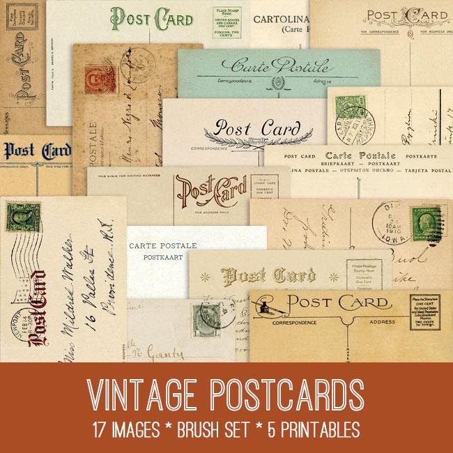 Vintage Postcard Image Kit