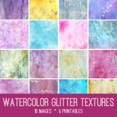 Watercolor & Glitter Textures Kit – Graphics Fairy Premium