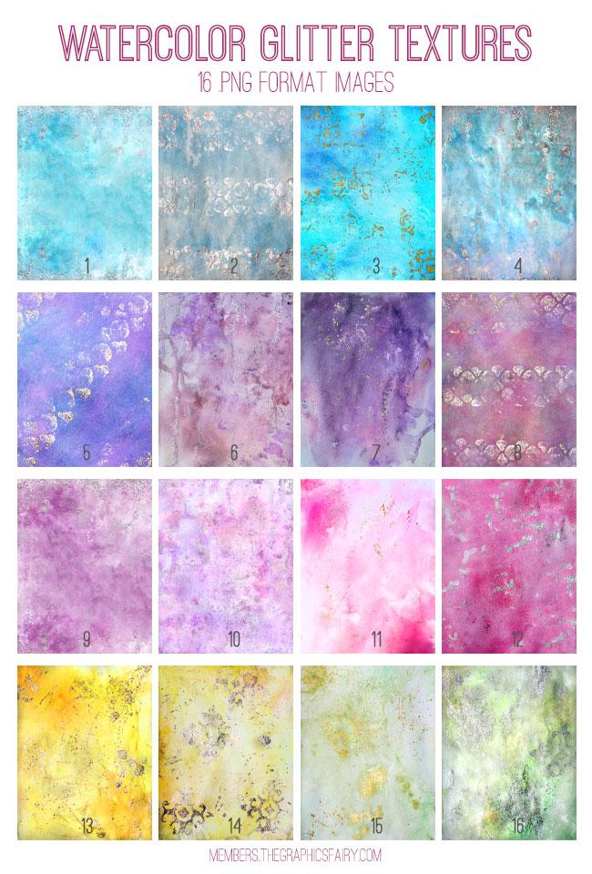 Watercolor Glitter Texture Kit