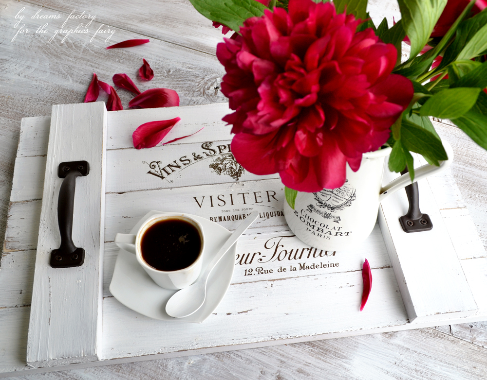 Learn how to make a DIY French Farmhouse Tray from scratch, decorate it with a beautiful French graphic and use it to give your home a chic farmhouse style - by Dreams Factory for the Graphics Fairy
