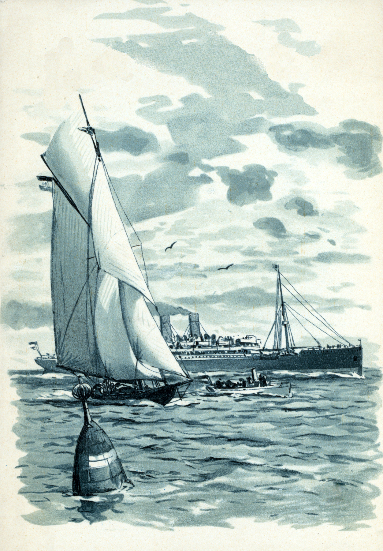 Vintage Blue Boats Picture