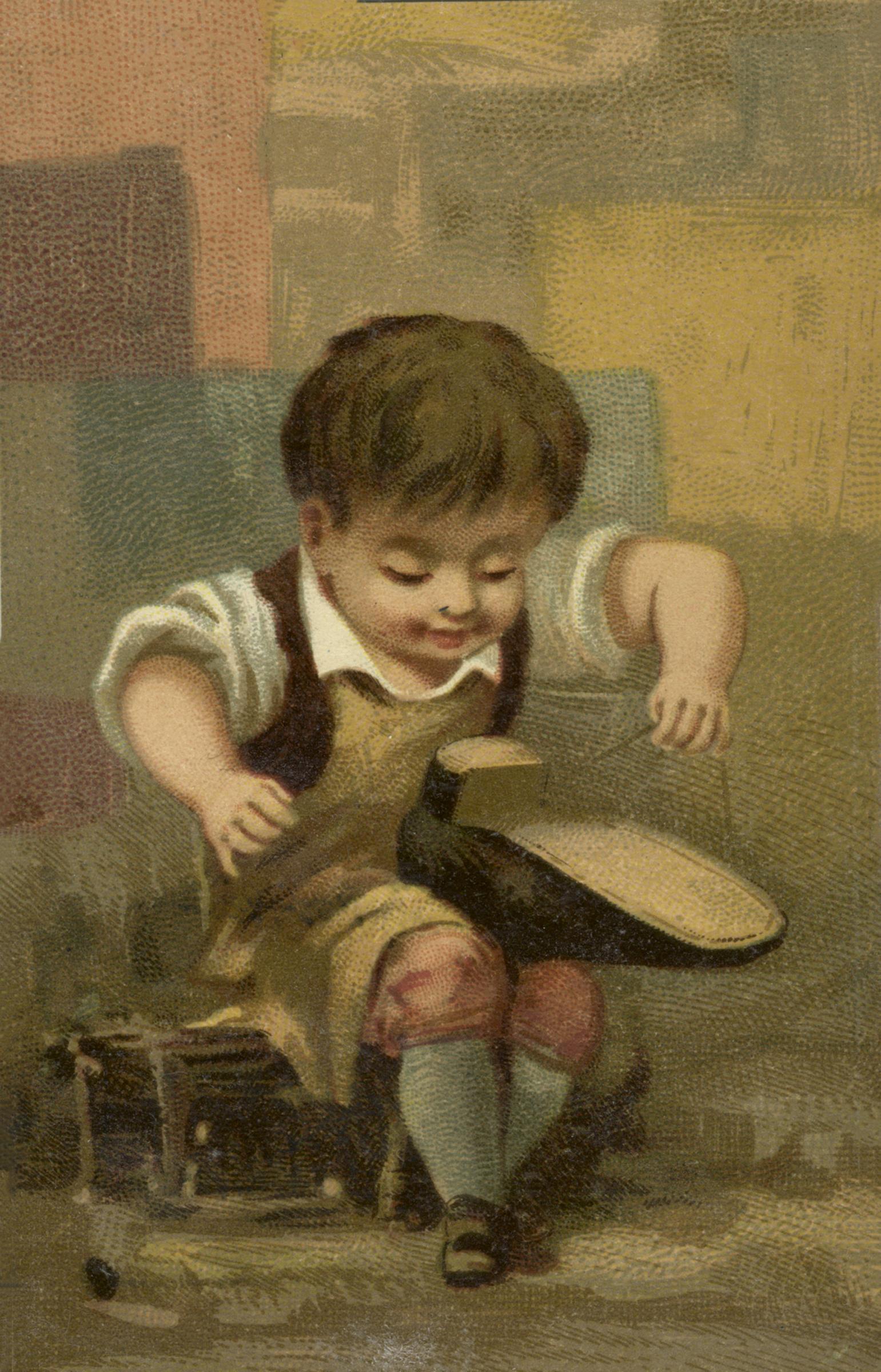 Vintage Boy Holding A Shoe - Cobbler