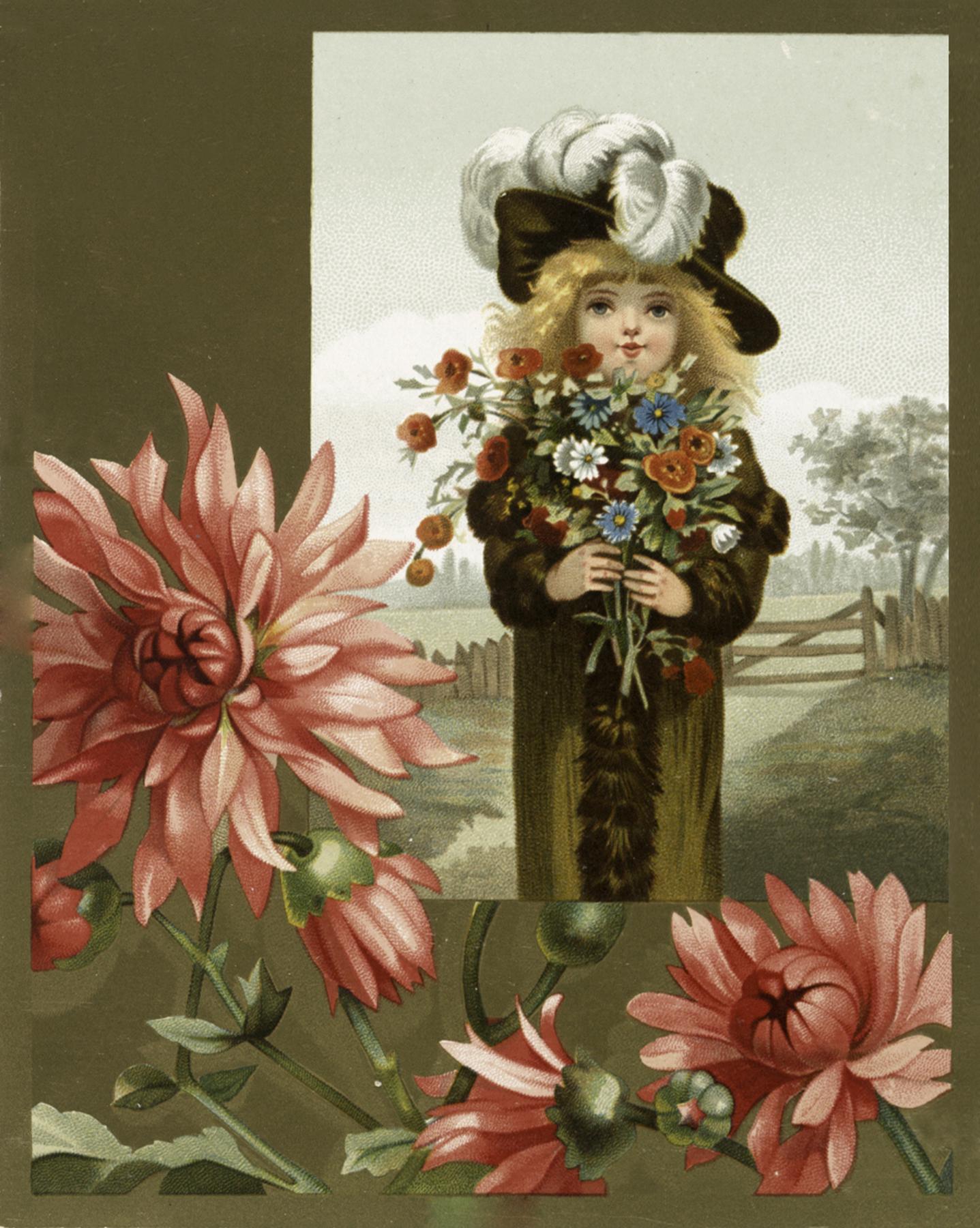 Vintage Girl Holding Flowers image